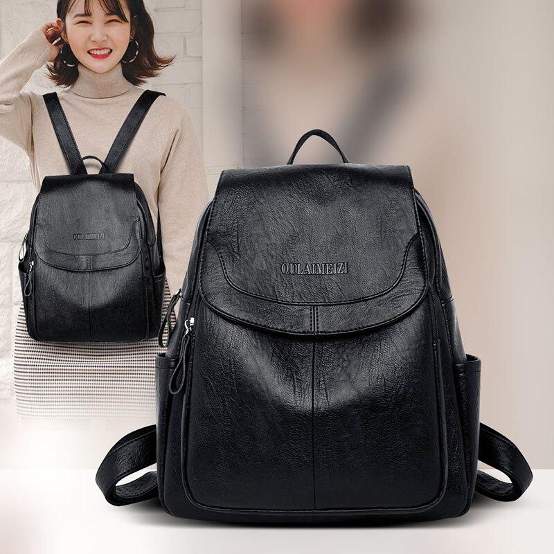 Mochila feminina moda 2020 couro do plutônio mochila para mulher zíper bolso senhoras saco anti theif