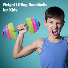 Plastic Indoor Kids Fitness Home Gym Sand Water Filled Physical Training Educational Adjustable Dumbbell Toy Set Lock Collar