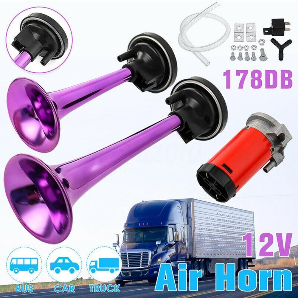 178dB Super Loud 12V Dual Tone Auto Car Air Claxon Horn High Output Compressor Set Trumpet for Motorcycle Boat Truck in Multi tone Claxon Horns from Automobiles Motorcycles