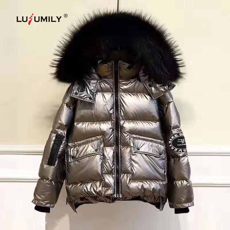 Lusumily Women's Down  Jacket Winter Loose Short Warm Coats White Duck Down Parka Large Faux Fur Collar Glossy Outwear Female