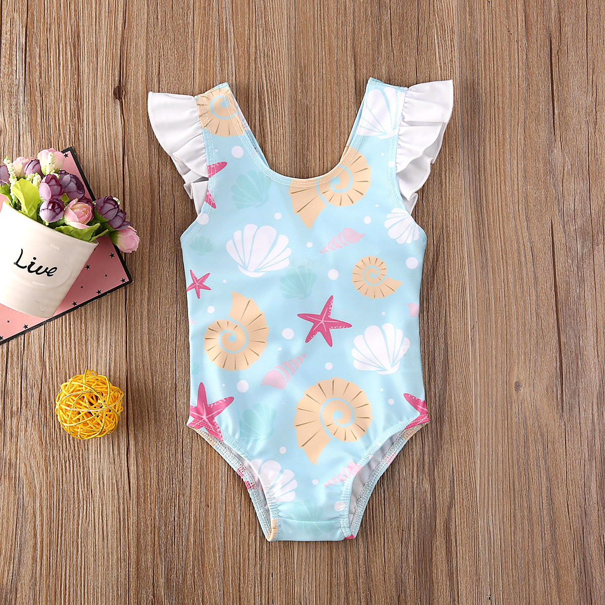 Pudcoco Newborn Baby Girl Clothes Beach Shell Print Sleeveless Bowknot Bikini Swimwear Swimsuit Swimming Bathing Suit Clothes