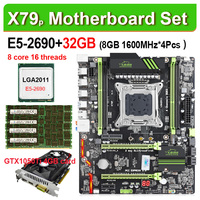 X79 motherboard set with Xeon E5 2690 CPU LGA2011 combos 4*8GB = 32GB memory DDR3 RAM 12800R 1600Mhz M.2 SSD 1050TI 4G card