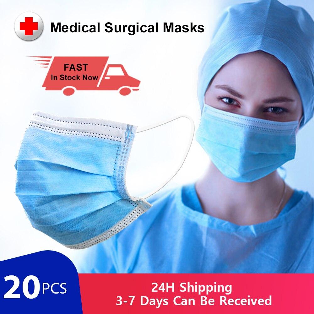 Medical Surgical Masks Antivirus N95 Respirator Mouth Mask 3 Layer Disposable Medical Masks For Germ Protection As KF94 FFP2