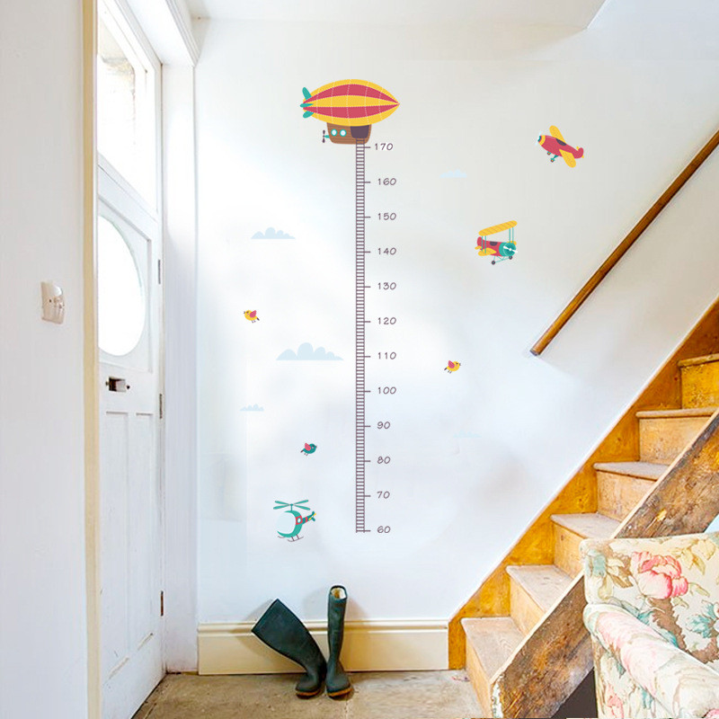 1Pc Cartoon Airplanes Height Measure Wall Stickers Kids Grow Up Height Ruler Mural For Baby Boy Room Nursery Home Decor 30*90CM image