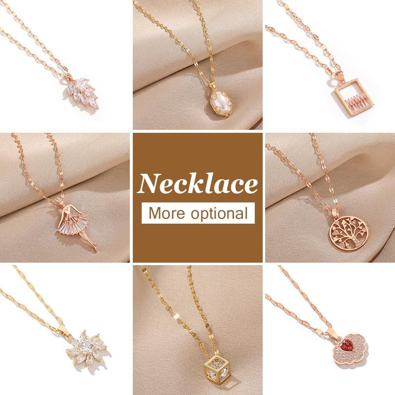 2020 New Titanium Steel Necklace Rose Gold Lip Chain Lock Bone Chain Drops Leaf Pendant Aesthetic Temperament Personality Trend Pendants Aliexpress