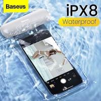 Baseus مقاوم للماء قضية الهاتف آيفون 11 برو ماكس السباحة الحقيبة حقيبة حافظة IPX8 غطاء عالمي لسامسونج S20 الانجراف الغوص تصفح