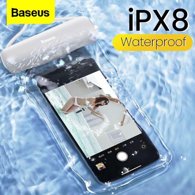 Baseus עמיד למים טלפון מקרה עבור iPhone 11 פרו מקס לשחות פאוץ תיק מקרה IPX8 אוניברסלי כיסוי עבור Samsung S20 להיסחף צלילה גלישה