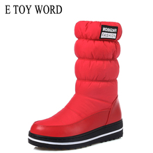 Buy E TOY WORD Winter waterproof snow boots women warm padded down cotton boots short boots thick bottom non-slip women boots directly from merchant!