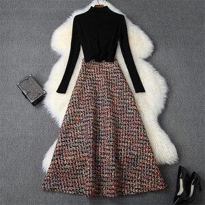 Женский дизайнерский комплект из 2 предметов с юбкой, Модный осенне-зимний комплект одежды, черный свитер и длинная твидовая шерстяная юбка, костюм-двойка, 2019