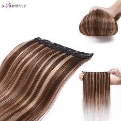 S-noilite, 8-24 дюйма, 40-60 г, не Реми, 100% человек, 1 шт., с 5 прямыми зажимами, человеческие волосы для наращивания вокруг головы