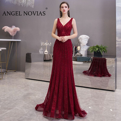 Real Picture Long Mermaid Burgundy Evening Dress 2020 Crystals Woman Backless Formal Elegant Party Gown abendkleider lang luxus