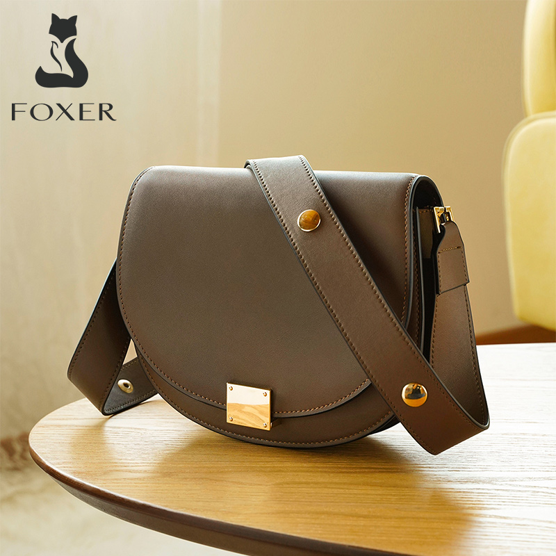 FOXER Half-round Casual Women Crossbody Bag Soft Cowhide Fashion Ladies Retro Brown Shoulder Bag Elegant Messenger Bag