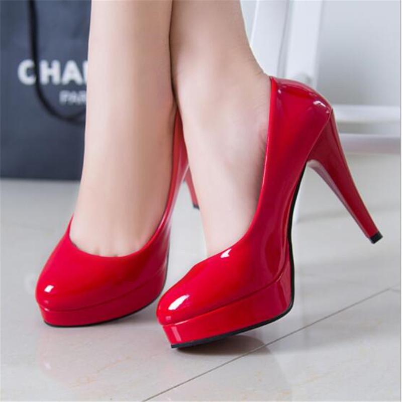Women Pumps Fashion Classic Patent Leather High Heels Shoes Nude Sharp Head Paltform Wedding Women Dress Shoes Plus Size 34 42
