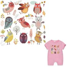 Cartoon Owls Set Sticker On Clothes Iron A-Level Washable Heat Transfer Patches For Clothing Easy Print By Household Irons