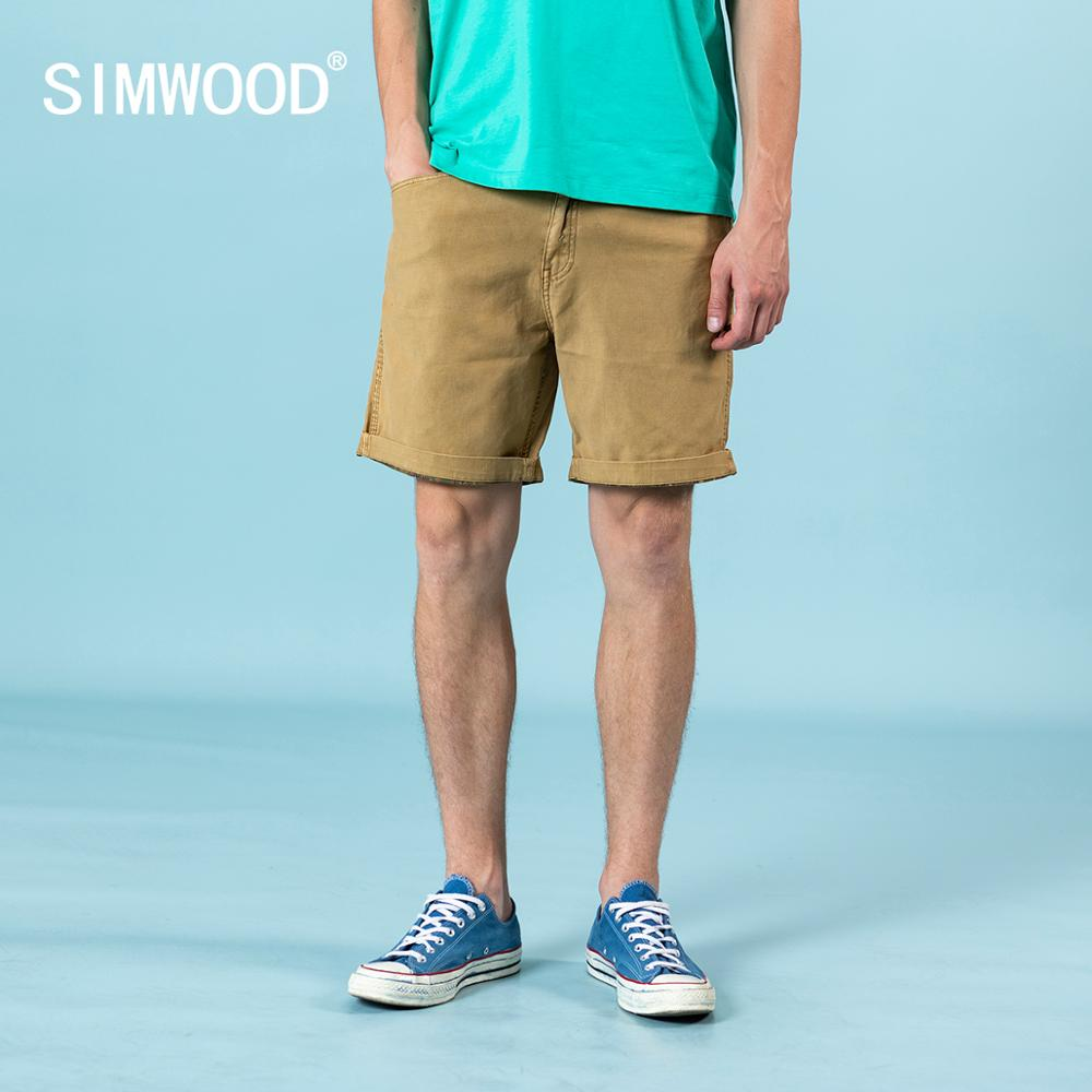 SIMWOOD 2020 Summer New Casual Shorts Men Knee-length Inside Pattern Print Garment Dyed Shorts Plus Size High Quality Clothes