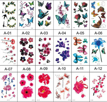 10Pcs Beautiful Water Transfer Tattoos Body Art Makeup Cool 3D Waterproof Temporary Tattoo Stickers for Womens Girls image