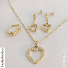 hot sell stainless steel jewelry set gold color heart sharp