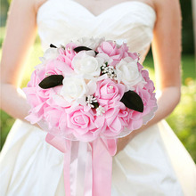 Wedding Bouquet Bridal Bridesmaid Artificial Silk Rose Flowers with Lace Fake Flowers Romantic Party Supplies Wedding Decoration