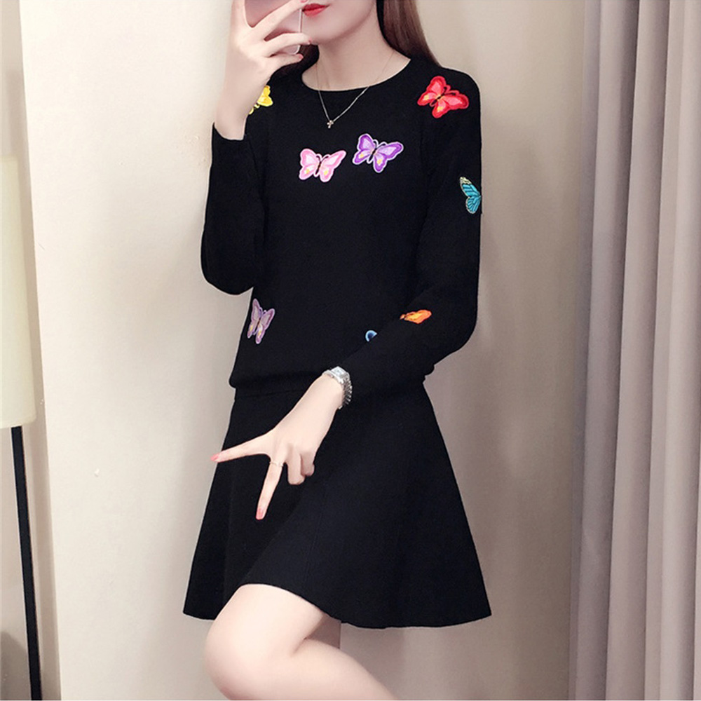 Women Knitted Sweater Embroidered Pullover Korean Casual Sweater Butterfly Flower Femme Tricot Pull Jumper Tops O Neck Sweater in Pullovers from Women 39 s Clothing