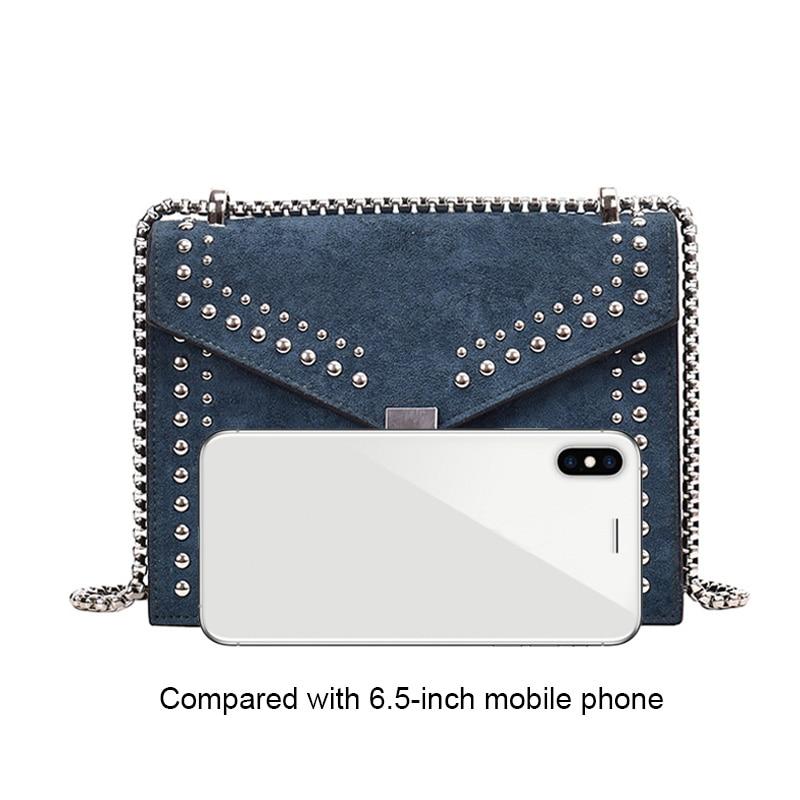 Scrub Leather Small Shoulder Messenger Bags For Women 2019 Chain Rivet Lock Crossbody Bag Female Travel Mini Bags