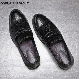 Image 5 - Zapatos de cocodrilo clásicos italianos para hombre, mocasines de oficina, elegantes, de cuero Formal, Sepatu Slip On Pria