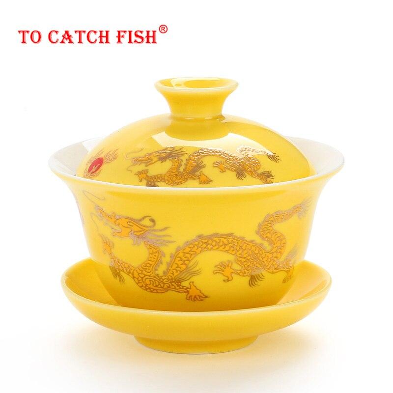Chinese Traditions Gai Wan Tea Set Bone China Tea Sets Dehua Gaiwan Tea Porcelain Pot Set For Travel Beautiful And Easy Kettle