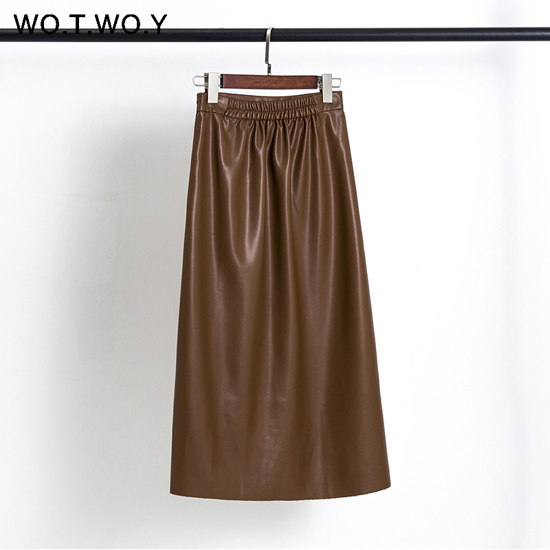 WOTWOY 2020 Casual Faux Leather Skirts Women Summer PU High Waist A-Line Mid-Calf Skirt Women Solid Pleated Skirt Lady Harujuku