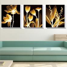 Diy Diamond Cross Stitch Embroidery Gold Flow Year Triptych Full Drill Modern Minimalist Flower Dream Painting