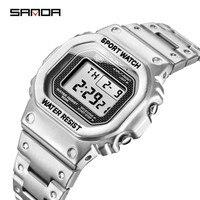 SANDA Männer Damen Digitale Uhr Edelstahl 5Bar Waterpoof Chronograph Countdown Armbanduhr Shock LED Sprot Uhr montre homm