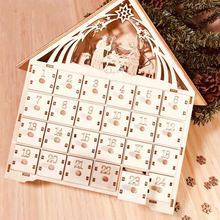 Holiday LED Light Ornament Advent Calendar Home Countdown Decoration Storage Desktop DIY Party Pull Out Drawers Christmas Wooden(China)