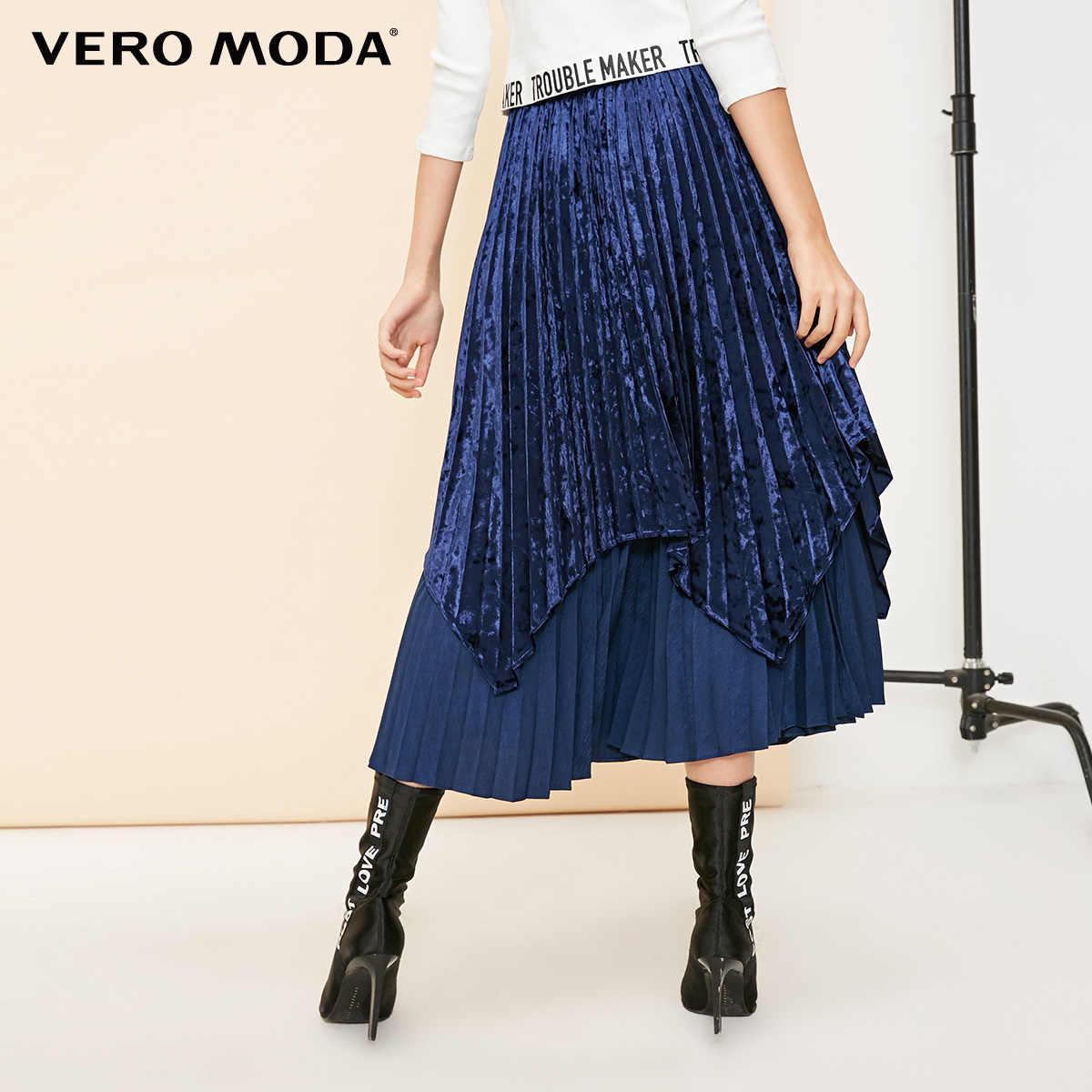 Vero Moda 2019 Новые поступления боковая молния бархатные многоярусные Плиссированные Длинные юбки | 318416510