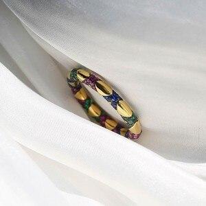 Image 4 - Sljely Mode Pure 925 Sterling Zilveren Sieraden Geel Goud Kleur Multicolor Zirkoon Kruisen Tribal Finger Ring Mana Collection