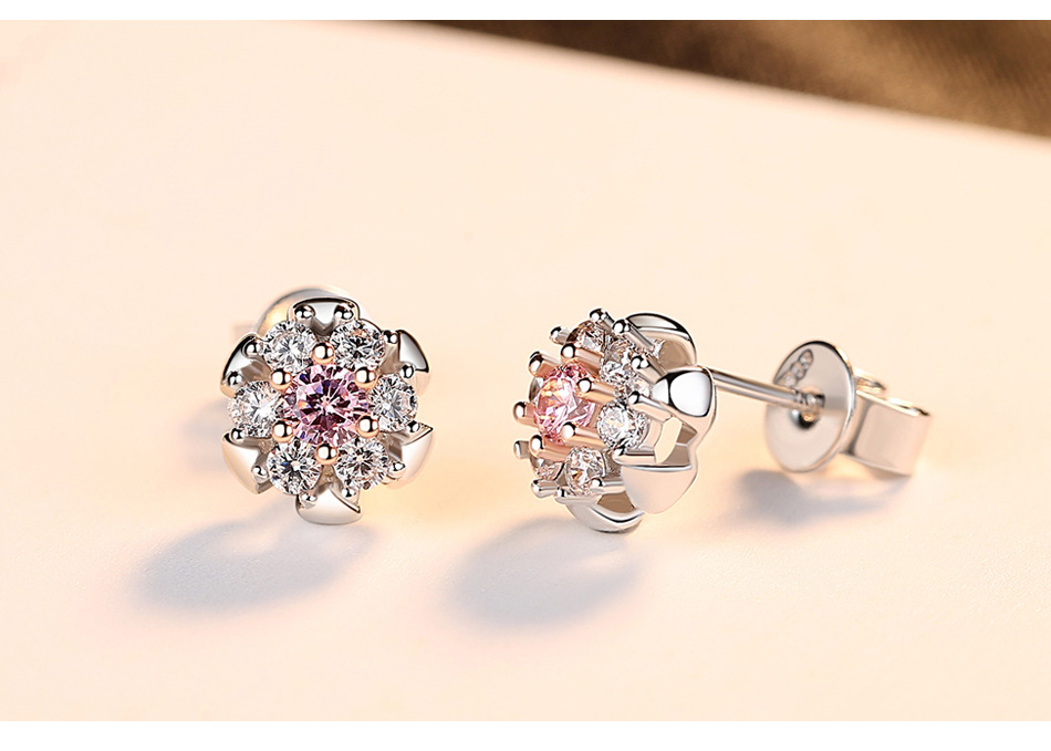 S925 sterling silver color zircon high end ladies wild earrings GCF04