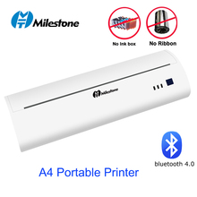 Milestone Portable A4 Thermal Printer Bluetooth Photo Test Paper Document PDF Printer Support Android iOS A4 USB Mobile Printer