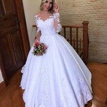 2020 New Vestido De Noiva Scoop Neck Satin Ball Gown Wedding Dress Long Sleeves Lace Appliques Bridal Gowns robe de mariee
