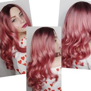 Image 5 - Длинные волнистые парики AISI QUEENS, розовый парик, синтетические парики для женщин, косплей, блонд, серый, коричневый, черный, красный, парики для продажи