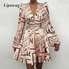 Сексуальное женское платье с v-образным воротом, платье из шелкового атласа женские 2021 весеннее платье с длинными рукавами мини-платье А-сил...