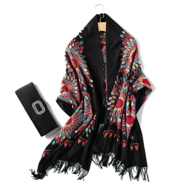 2019 luxury brand cashmere women scarf winter warm embroidery shawls and wraps wool pashmina long female foulard thicken blanket|Women