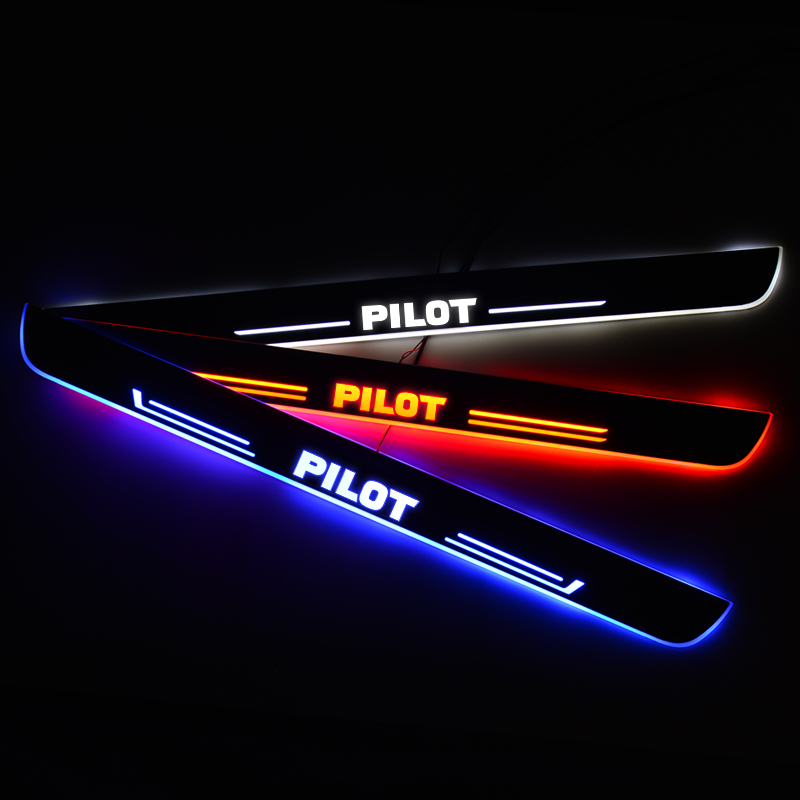 LED Door Sill Streamed Dynamic For Honda PILOT 2015-2020 to 2008-2014 Scuff Plate Acrylic Door Sills Car Exterior Accessories