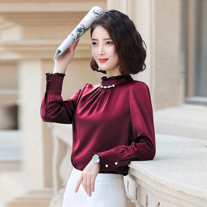 Korean Fashion Silk Women Blouses Beading Satin Long Sleeve Women Shirts Plus Size XXL Blusas Femininas Elegante Ladies Tops