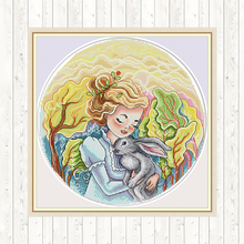 Girl and Rabbit Painting Embroidery Cross Stitch Kit DIY for Needlework 14CT Print on Canvas DMC 11CT Counted Fabric Home Decor red rose on the table painting counted 11ct 14ct cross stitch wholesale diy cross stitch kit embroidery needlework home decor