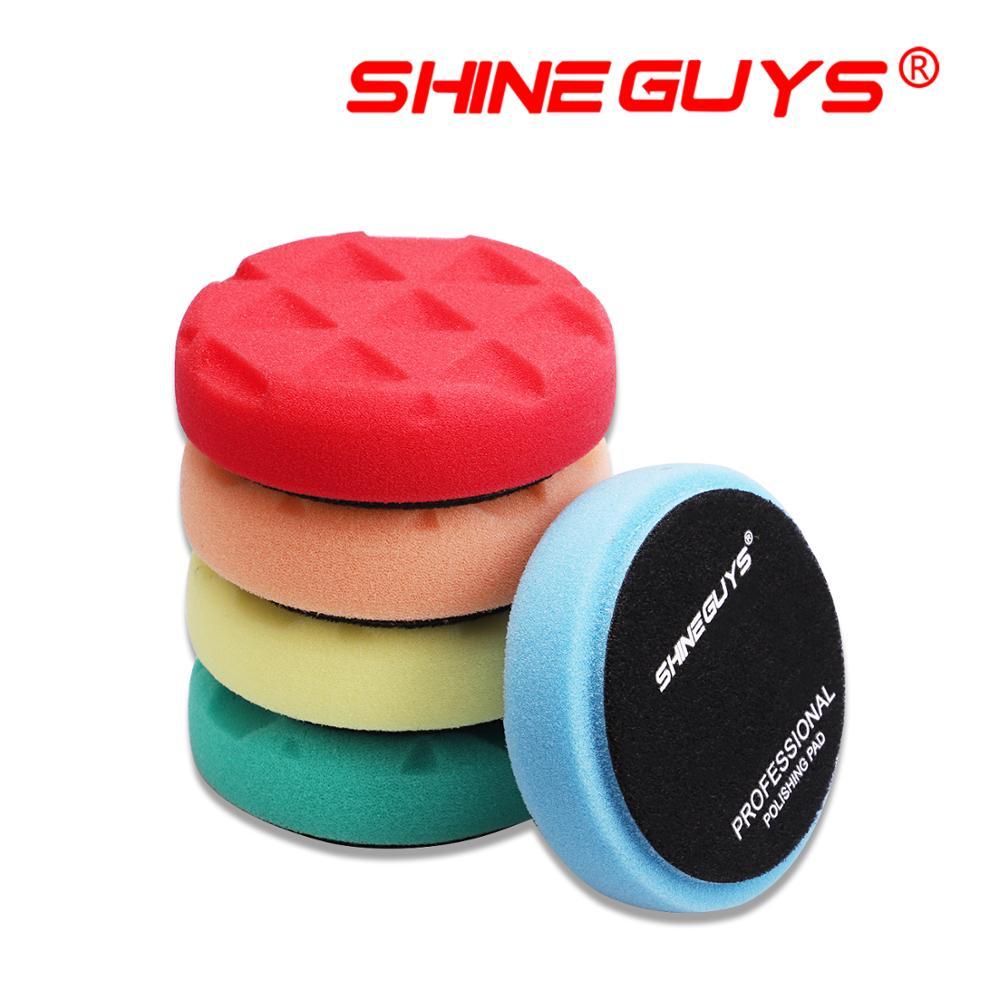 Shine guys 3.5 Polegada (90mm) almofadas de polimento e polimento de corte leve/médio/pesado para 3 Polegada (80mm) ro/da/ga polidor de carro