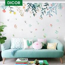 DICOR DIY çiçekler yansıma ev dekorasyon sanat duvar çıkartmaları salonlar için renkli güzel çıkarılabilir Adesivo de parede