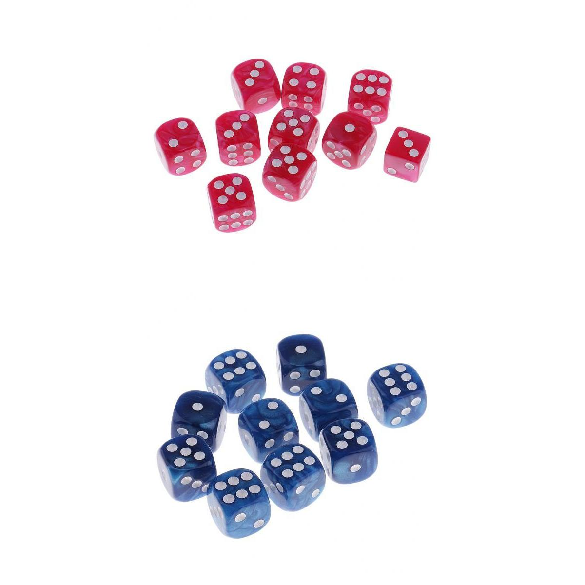 20pcs Pearlized Six Sided Spot Dices D6 for Party Bar Casino Game Pink+Blue