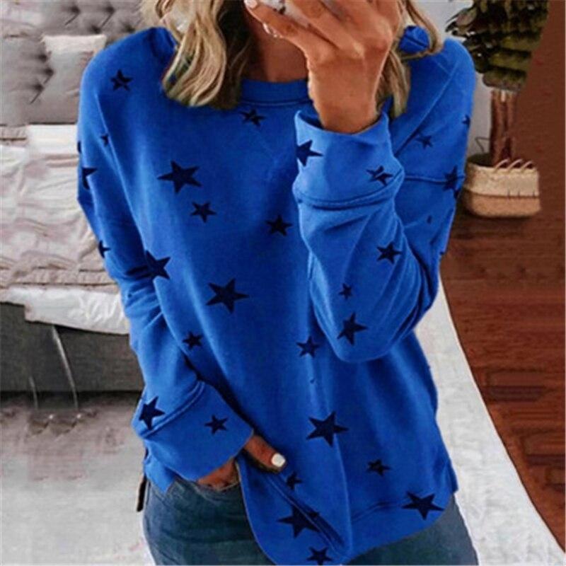Осенняя футболка с длинным рукавом и принтом звезд модная свободная