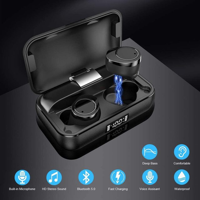 Bluetooth 5.0 Earbuds in-Ear TWS Stereo Headphones with Smart LED Display Charging Case IPX7 Waterproof 120H Playtime 2