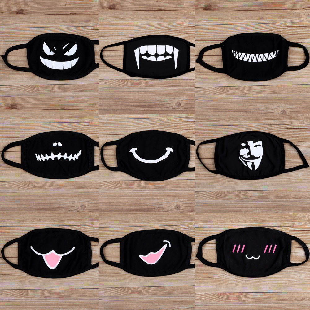 Cotton Dust Mask Cartoon Expression Muffle Face Respirator Anti PM2.5 Mask New Windproof Reusable Anti-fog Protective Mouth Mask