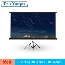 Touyinger przenośny 16:9 projektor 72 84 100 cali biały ekran projekcyjny krawędzi ekran projektora telewizor z dostępem do kanałów domowe Audio-ekran wizualny