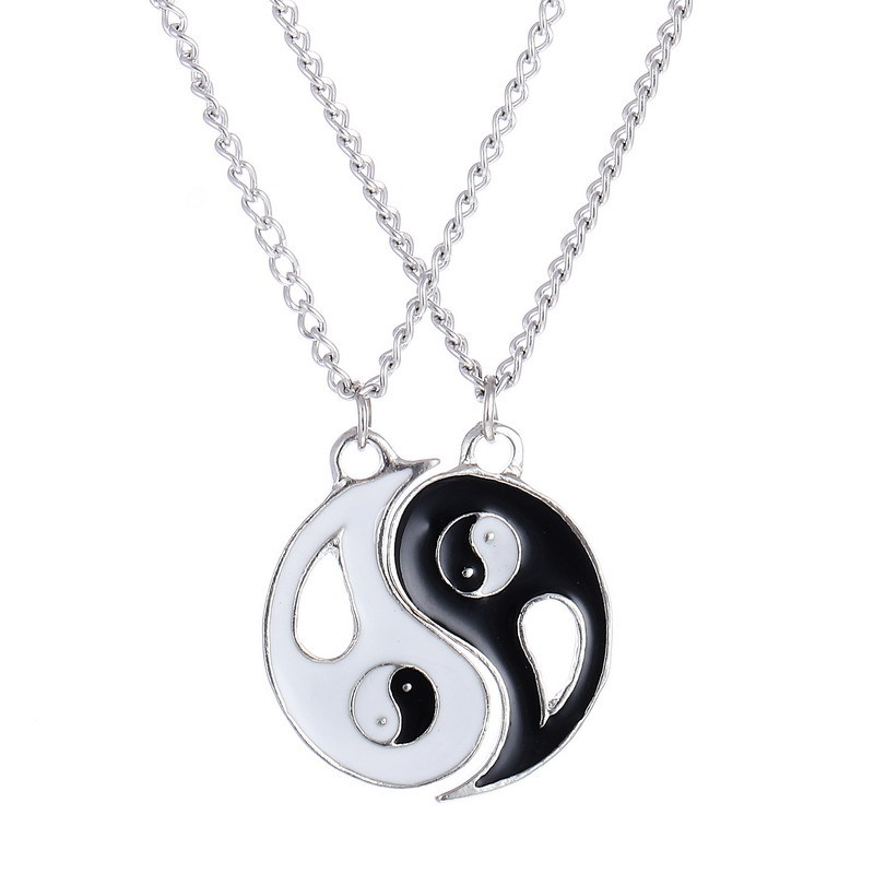 2 Piece / Set Fashion Classic Best Friends Pendant Necklace Yin Yang Gossip Necklace Girlfriend Valentine's Day Gift image