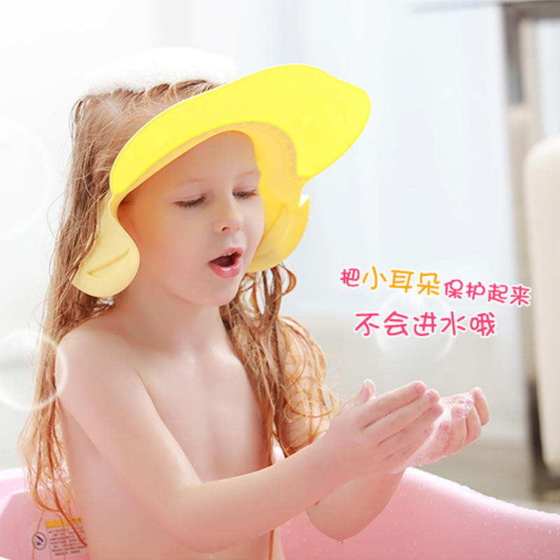 Baby Shower Cap Bath Earmuff Children Shampoo Cap Useful Product Waterproof Kids Infants Shower Cap Extra-large Adjustable
